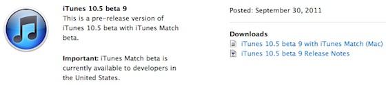 iTunes 10.5 Beta 9