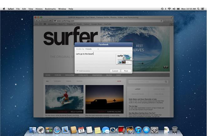 OS X 10.8 Moutain Lion - Facebook