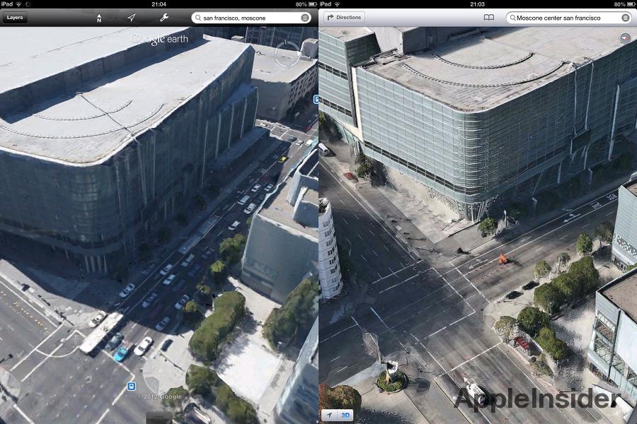 Google Earth vs. iOS 6 Maps