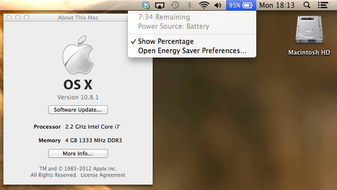 OS X 10.8.1 Battery Issues