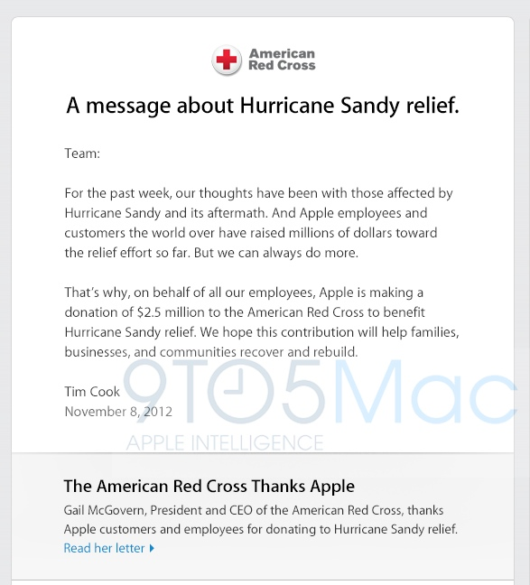 Tim Cook to Red Cross in US
