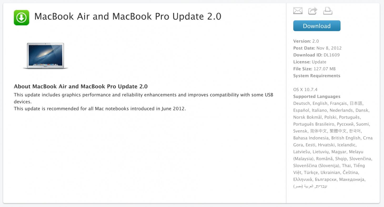 MacBook Air and MacBook Pro Update 2.0