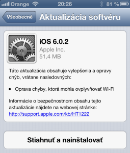 iOS 6.0.2 pre iPhone 5 a iPad mini