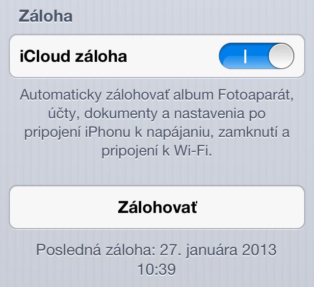 Jailbreak iOS 6.1 - iCloud záloha
