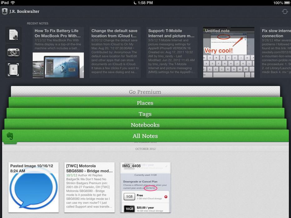 Evernote pre iPad