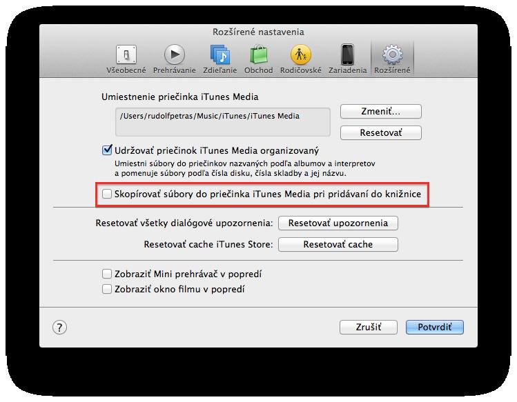 iTunes Nastavenia