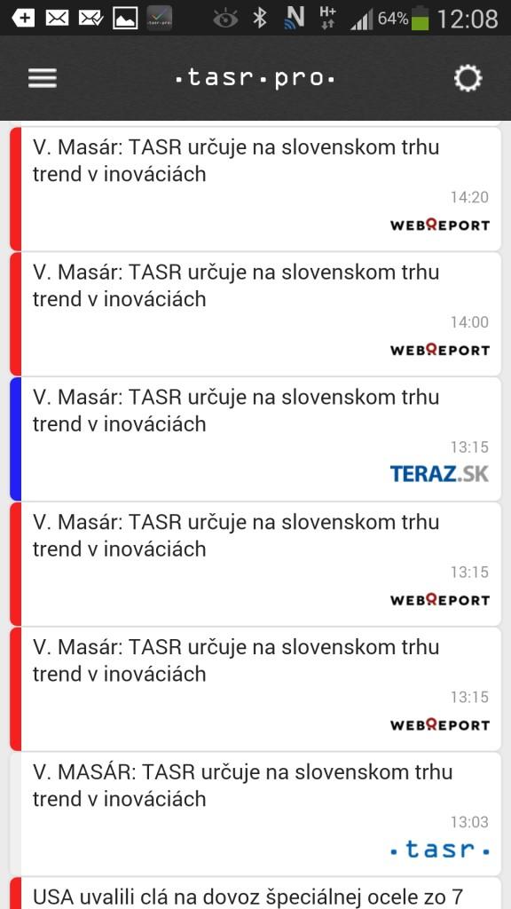 TASR iOS aplikácia